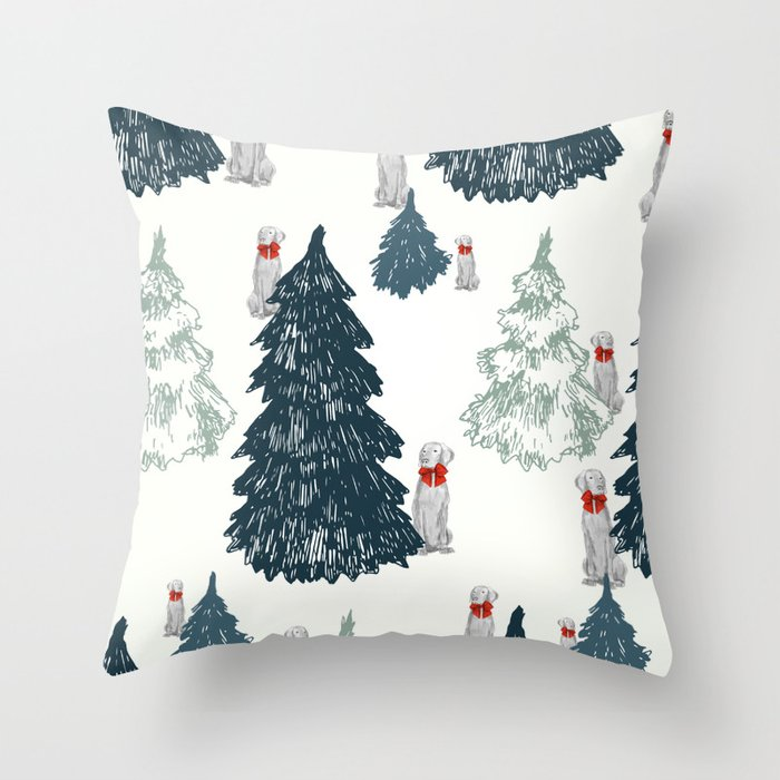 WEIMARANER AND TREES Throw Pillow