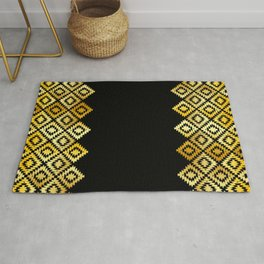 Turkish carpet gold black. Patchwork mosaic oriental kilim rug with traditional folk ornament Rug