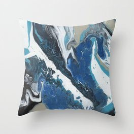 Oceanic 2 of 2 series - Fluid Acrylic Painting Print Throw Pillow