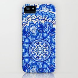 doily watercolor vector gzhel pattern iPhone Case