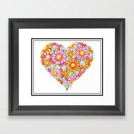 Summer Daisies Heart  Framed Art Print