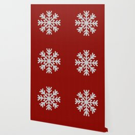 Knitted Christmas decoration white snowflake on red Wallpaper