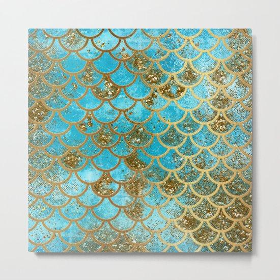 Aqua Teal and Gold Glitter MermaidScales - Mermaid Scales and Sea Foam Metal Print
