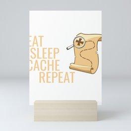 Geocaching Treasure Map Eat Sleep Cache Repeat Mini Art Print