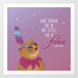 Fierce Tabby Cat Art Print