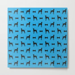 Dog and Bone - Lurcher - mini light blue Metal Print