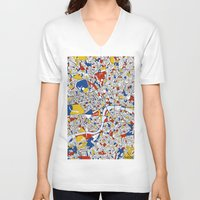 london map V-neck T-shirts featuring London by Mondrian Maps