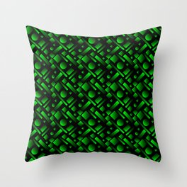Geometric volumetric design with circles and green rectangles from stripes. Throw Pillow