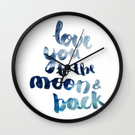 """ROYAL BLUE """"LOVE YOU TO THE MOON AND BACK"""" QUOTE Wall Clock"""