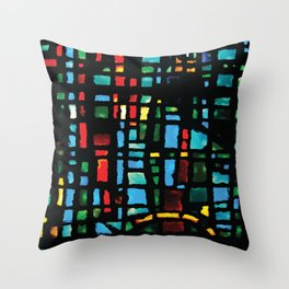 Stained Glass - Colorful Multi-Color Glass Design Throw Pillow