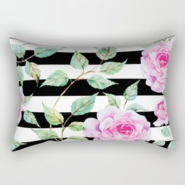 Roses, Pink Floral, Black and White Stripes Rectangular Pillow