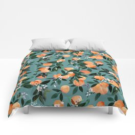 Dear Clementine - oranges teal by Crystal Walen Comforters
