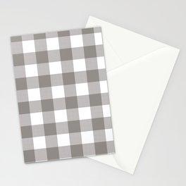 Grey & White Plaid Stationery Cards