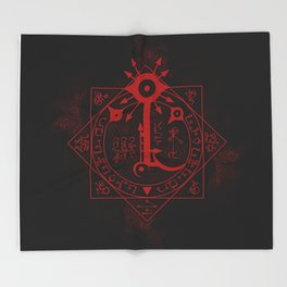 IS Symbol on Red Throw Blanket