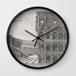 Vintage Diagram of The Roman Colosseum (1581) Wall Clock