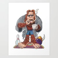 lebowski Art Prints featuring Bigfoot Lebowski by Eli Wolff