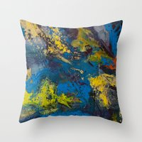 cosmic Throw Pillows featuring Cosmic by yellowbunnies