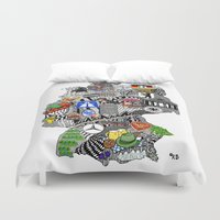 mercedes Duvet Covers featuring Germany Doodle by Rebecca Bear