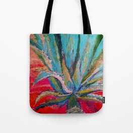 TROPICAL TURQUOISE BLUE AGAVE CACTI FUCHSIA  PATTERN Tote Bag