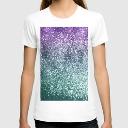 Aqua Purple Ombre Glitter #4 #decor #art #society6 T-shirt