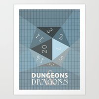 dungeons and dragons Art Prints featuring Dungeons & Dragons Die by Guiltycubicle