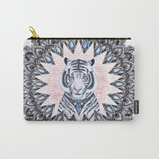White Tiger Sapphire and Rose Mandala Carry-All Pouch