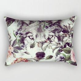 Floral Wolf Rectangular Pillow
