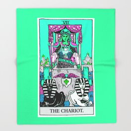 7. The Chariot- Neon Dreams Tarot Throw Blanket
