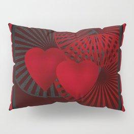 Love. The loving hearts .Black background . Pillow Sham