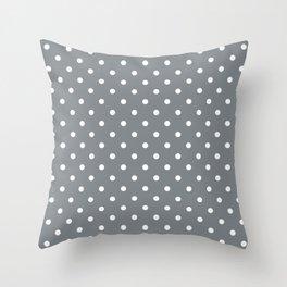 Smoke Grey with White Polka Dots Throw Pillow