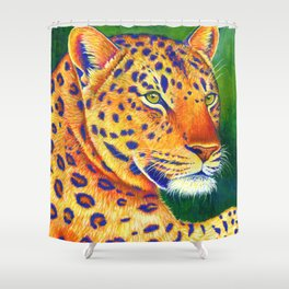 Colorful Leopard Big Cat Wild Cat Shower Curtain