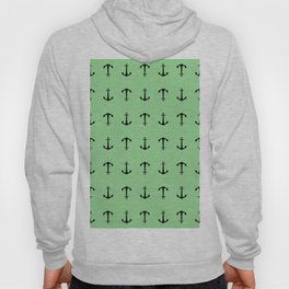 Anchors Away - Black anchors pattern on pastel green Hoody