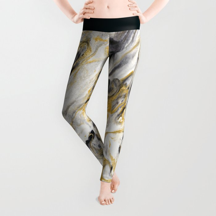 Black and Gold Marble Leggings