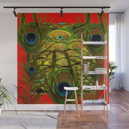 RED-GREEN PEACOCK FEATHERS ART Wall Mural
