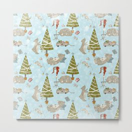 From Lazy Bears And Xmas Trees -Cute X-Mas Pattern Metal Print