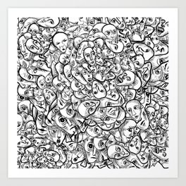 Faces and more faces Art Print