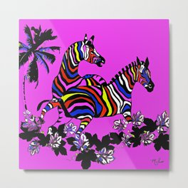Zebra Hot Pink Rainbow Metal Print