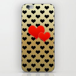 Two red hearts in tandem on black hearts pattern iPhone Skin