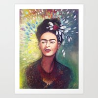 frida khalo Art Prints featuring Frida Khalo by Rosanna Konst