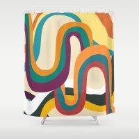 doom Shower Curtains featuring Groovy rainbow of doom by Picomodi