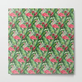 Flamingos Pattern II Metal Print
