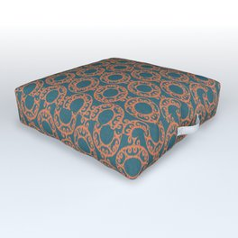 Scrolled Ringed Ikat – Colonial Blue Koi Outdoor Floor Cushion