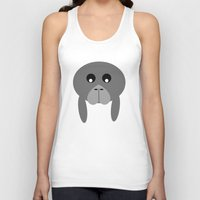 manatee Tank Tops featuring Fat Manatee by Bunhugger Design