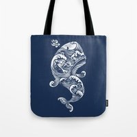 ghost Tote Bags featuring The White Whale  by Peter Kramar