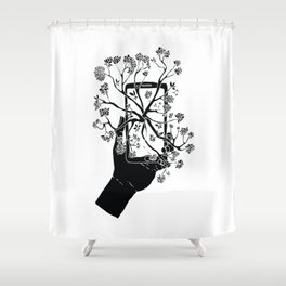 Break Free Cellphone Illustration - Hand holding cellphone growing a tree. Shower Curtain