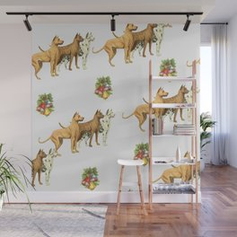 CHRISTMAS DOGS PATTERN Wall Mural