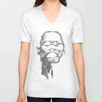 faces V-neck T-shirts featuring FACES by ELECTRICBLOOM