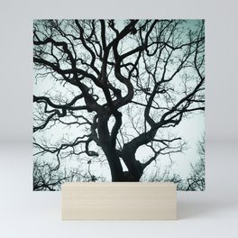 Tree Silhouette - Blue Mini Art Print