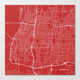 Memphis Map, USA - Red Canvas Print
