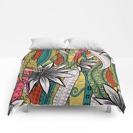 Red, Green & White Boho Vine Pattern Comforters